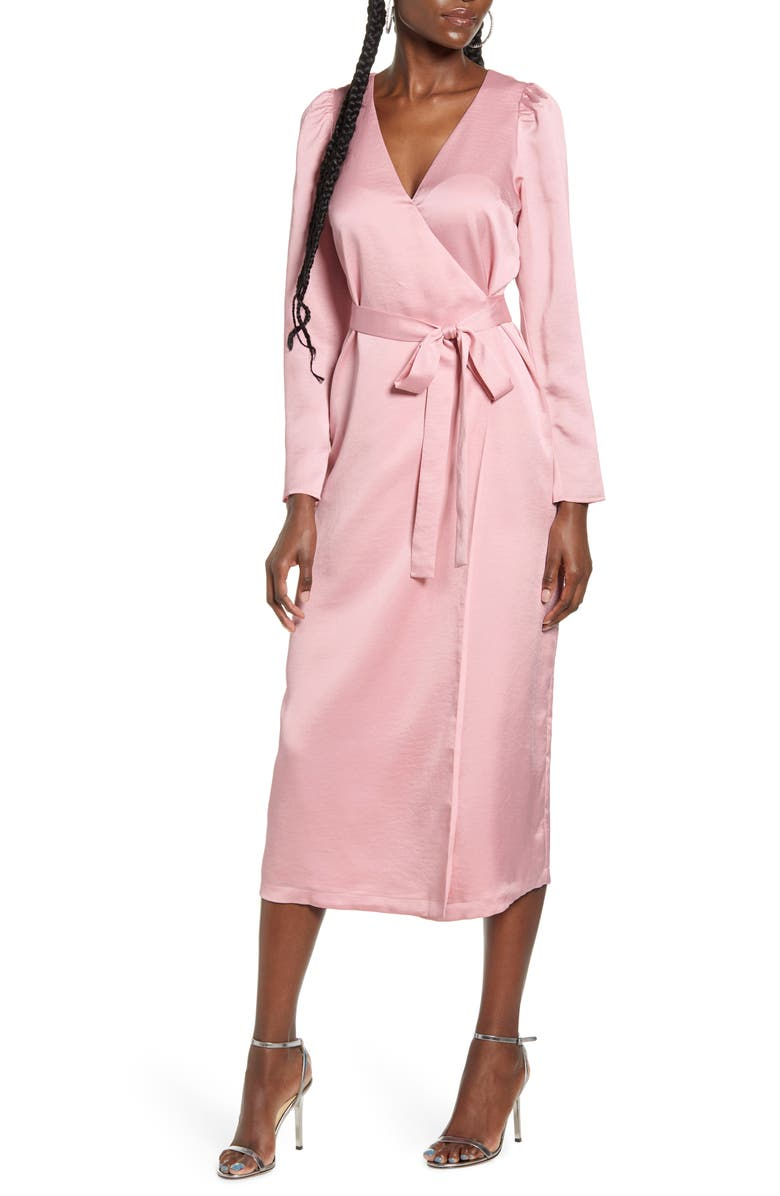 WAYF x Influencing in Color Dove Long Sleeve Wrap Midi Dress, Main, color, ICY PINK