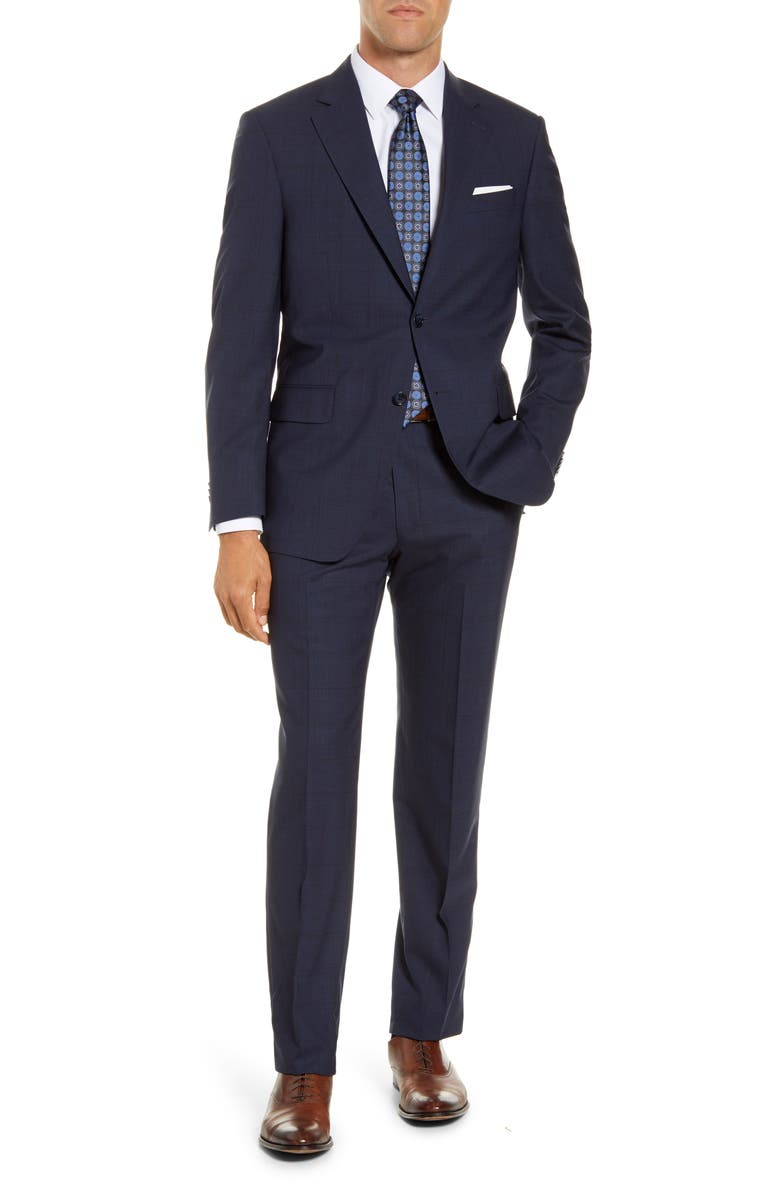 PETER MILLAR Classic Fit Plaid Wool Suit, Main, color, NAVY