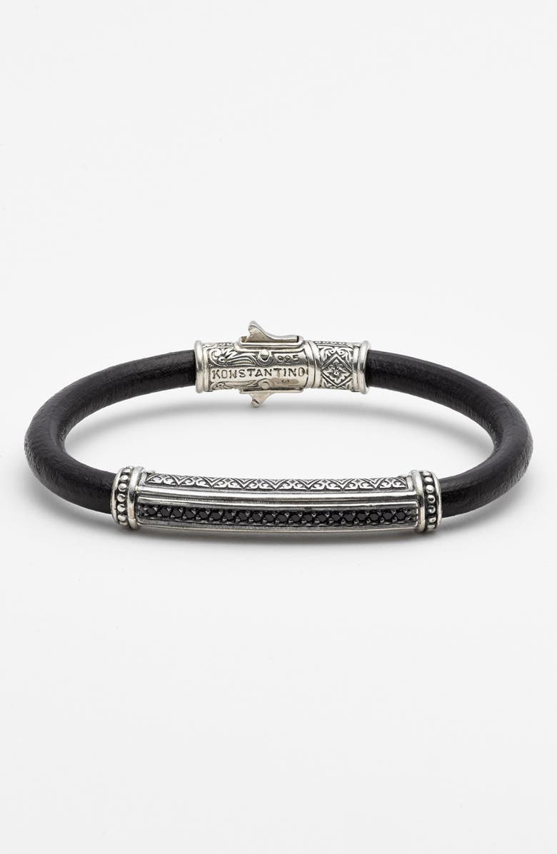 KONSTANTINO 'Plato' Leather Bracelet, Main, color, 040