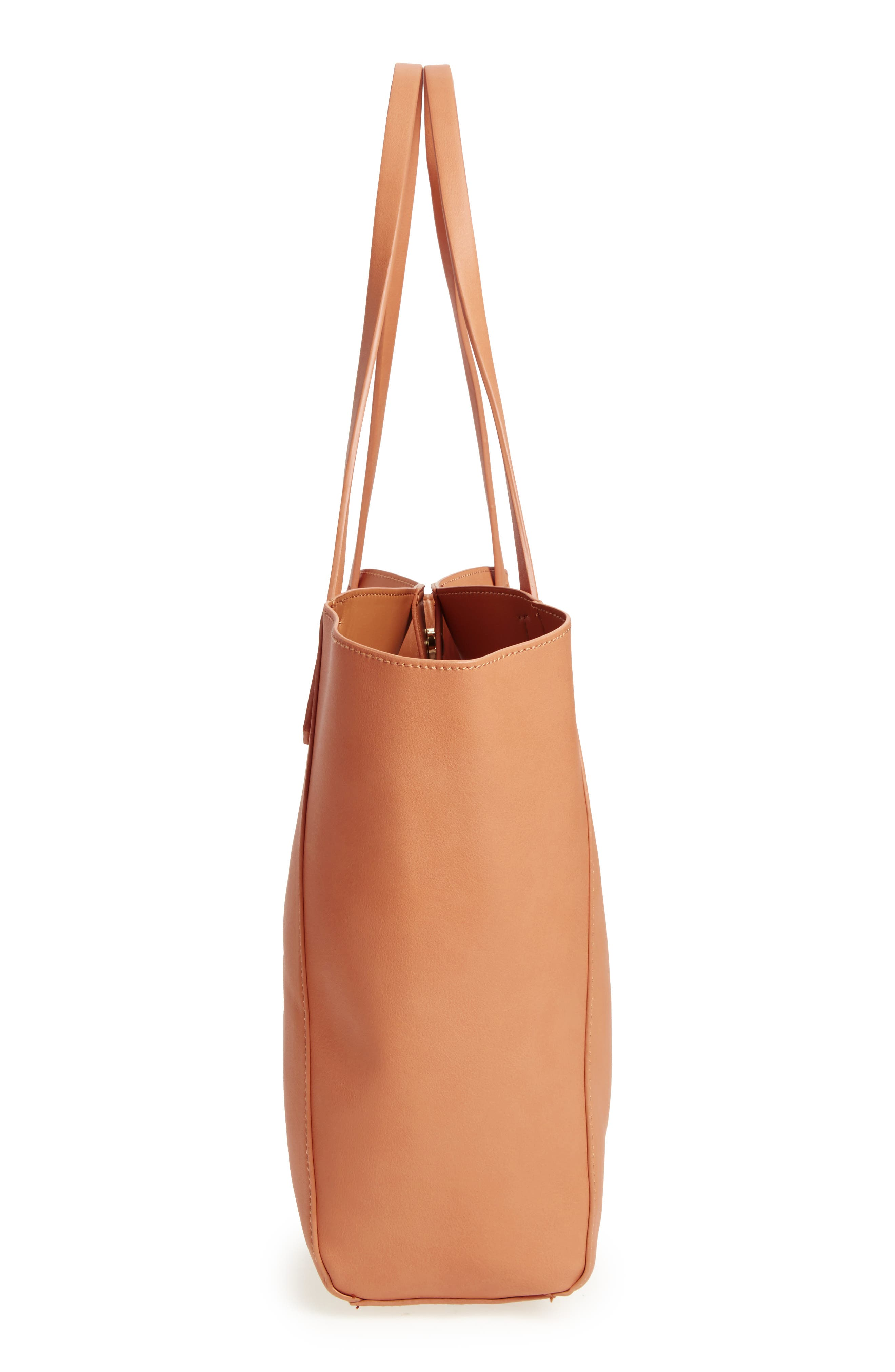 ,                             Colorblock Faux Leather Tote,                             Alternate thumbnail 18, color,                             210