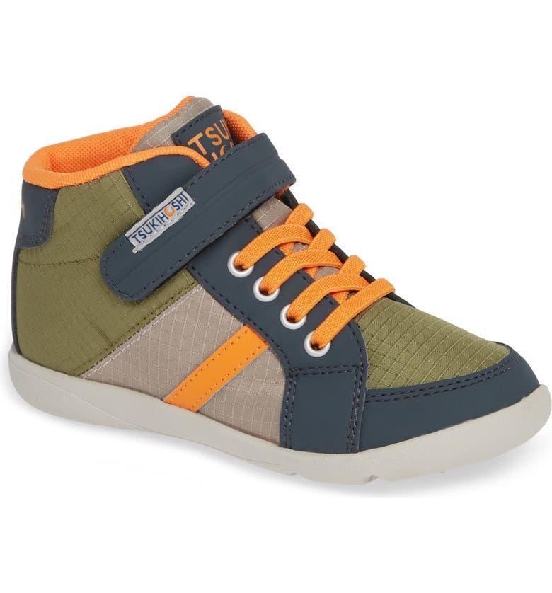 TSUKIHOSHI Grid Street Washable Sneaker, Main, color, CHARCOAL/ ORANGE