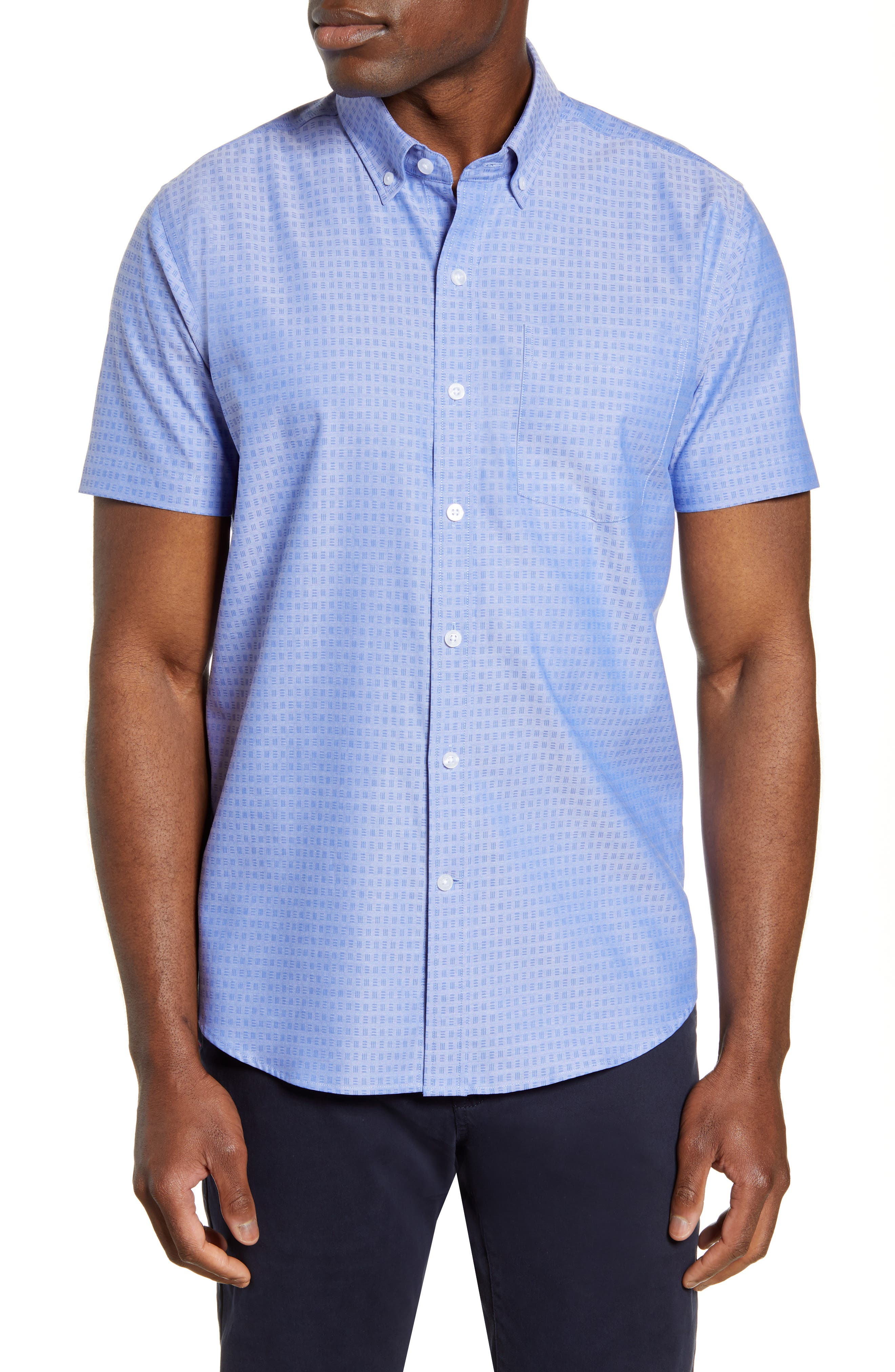 Three-bar squares neatly grid a jacquard button-down shirt tailored in a comfortable, easy-wearing fit from tonal cotton twill. Style Name: Cutter & Buck Strive Classic Fit Jacquard Short Sleeve Button-Down Sport Shirt. Style Number: 5887544. Available in stores.