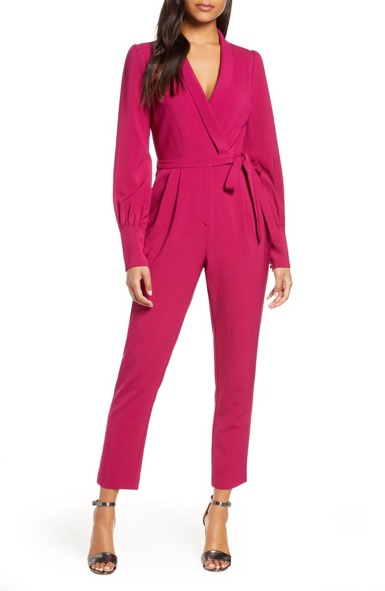 ADELYN RAE Carmela Long Sleeve Wrap Jumpsuit, Main, color, BOYSENBERRY