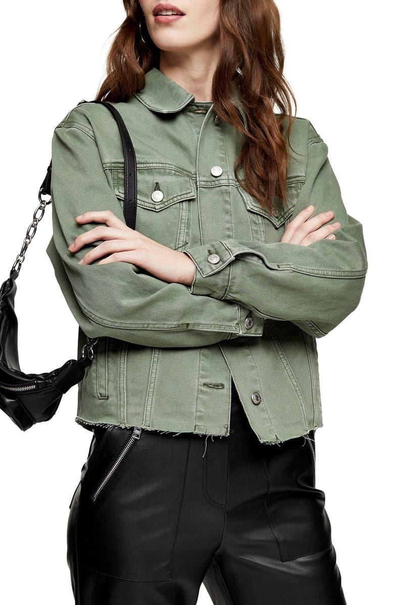 TOPSHOP Oversize Raw Hem Denim Jacket, Main, color, OLIVE