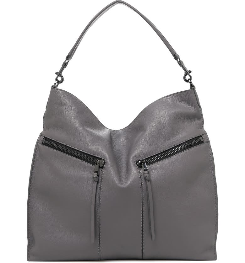 BOTKIER Trigger Pebbled Leather Hobo, Main, color, SMOKE