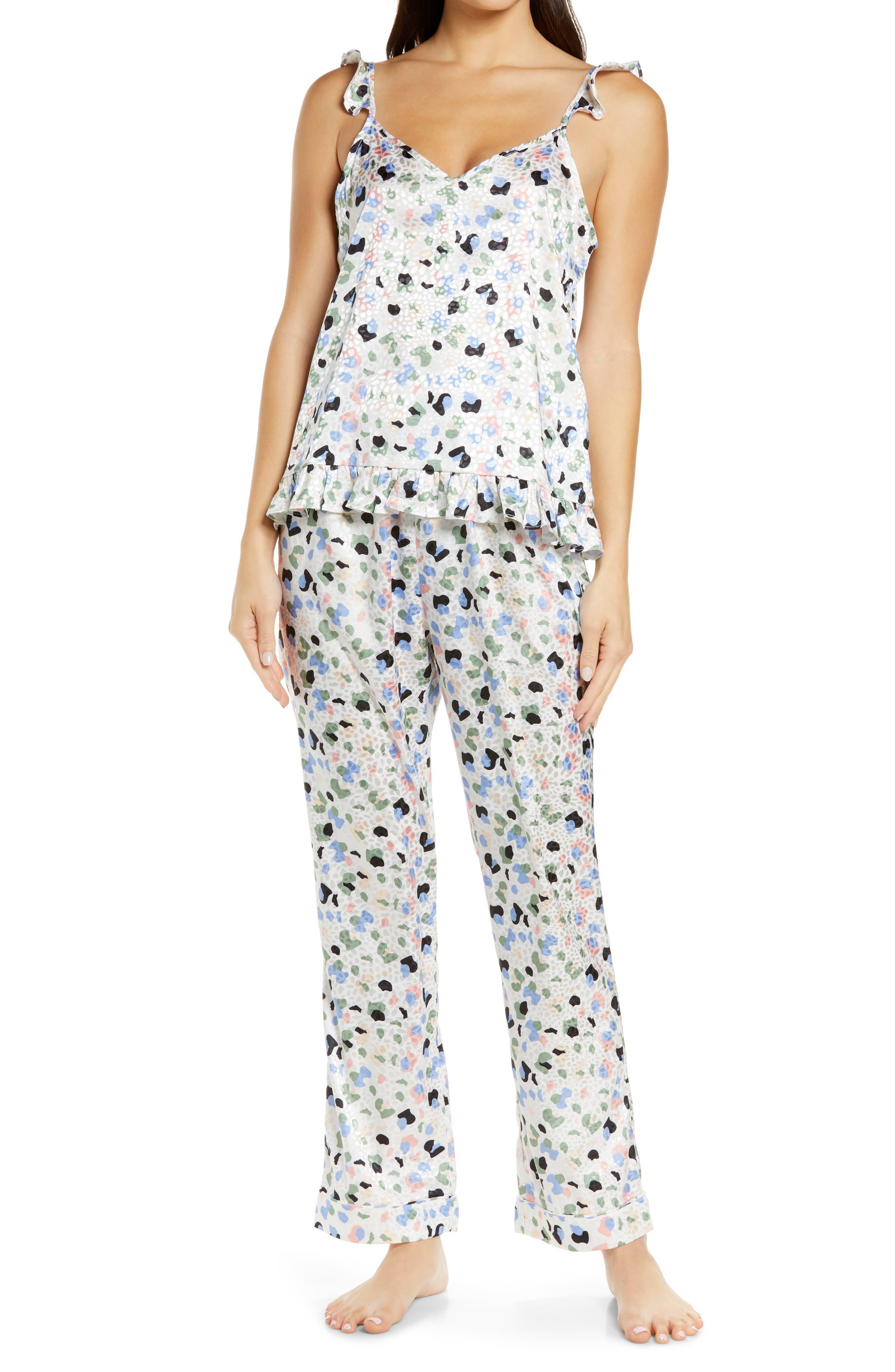 Ruffle Trim Print Pajamas