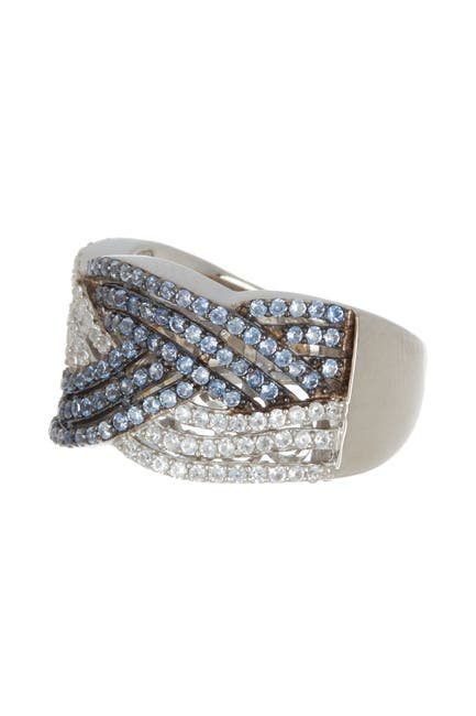 Image of Suzy Levian Sterling Silver Sapphire Crossover Ring
