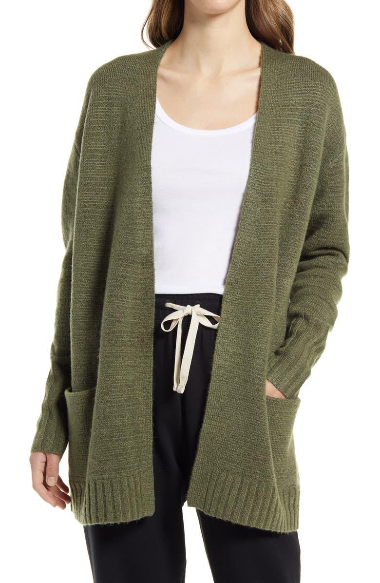 CASLON<SUP>®</SUP> Open Front Cardigan, Main, color, GREEN SORREL