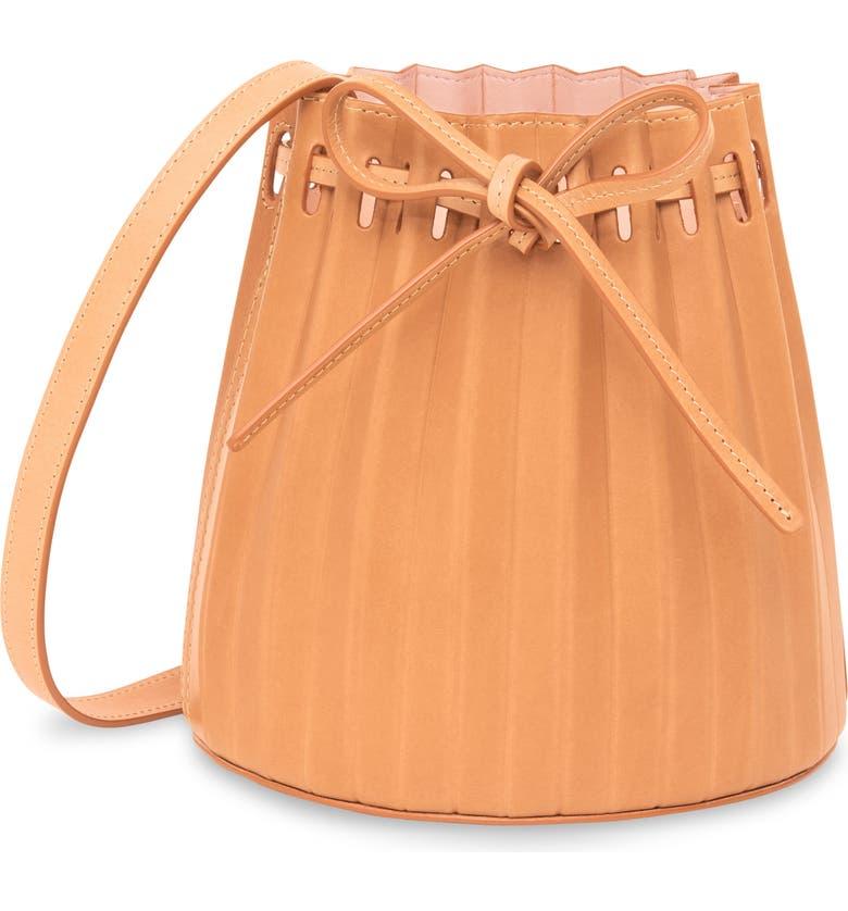 MANSUR GAVRIEL Mini Pleated Leather Bucket Bag, Main, color, CAMELLO/ ROSA