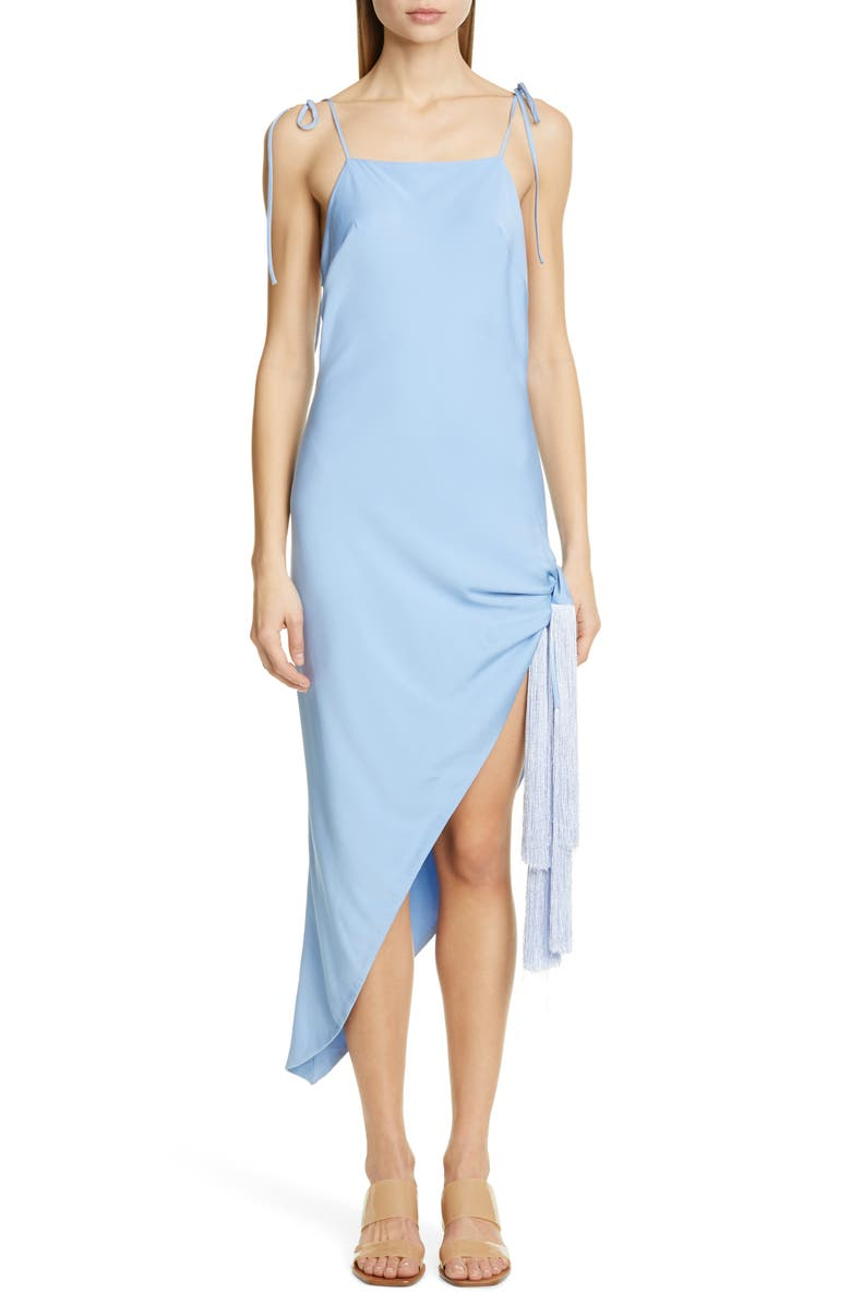 CULT GAIA Giselle Tie Hem Stretch Silk Slipdress, Main, color, BLUEBELL