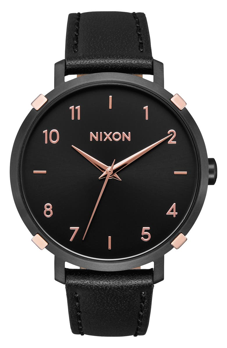 NIXON The Arrow Leather Strap Watch, 38mm, Main, color, BLACK/ ROSE GOLD/ BLACK