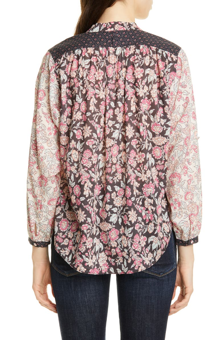Floral Pattern Mix Cotton Blouse, Alternate, color, SOFT BLACK COMBO