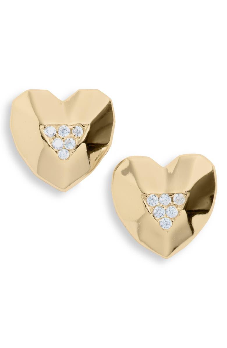 ARGENTO VIVO STERLING SILVER Argento Vivo Pavé Heart Stud Earrings, Main, color, 710