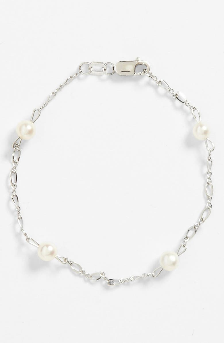 MIGNONETTE Sterling Silver & Cultured Pearl Bracelet, Main, color, WHITE