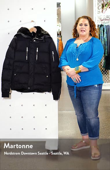 Faux Fur Lined Down & Feather Quilted Coat, sales video thumbnail