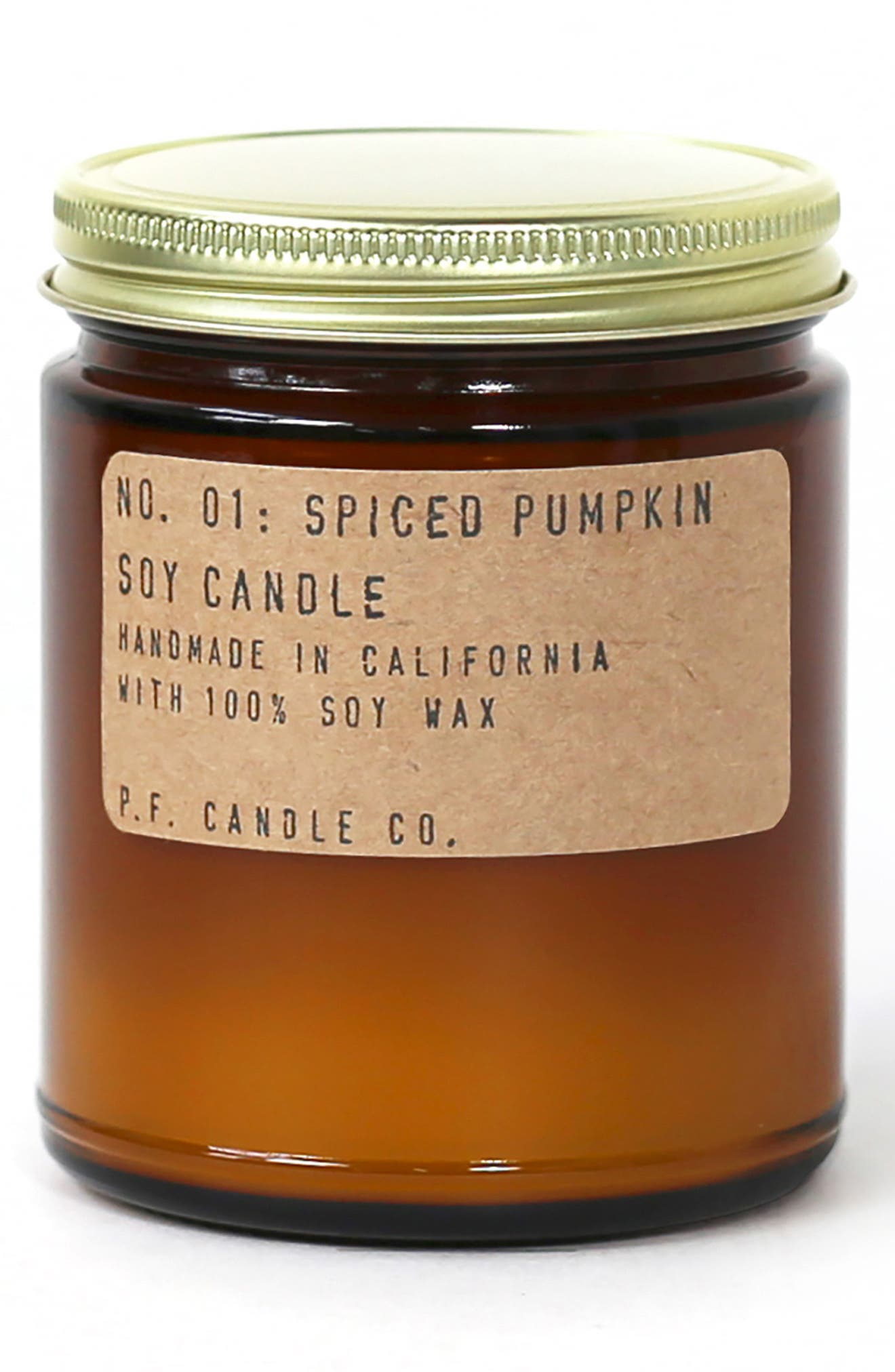 What it is: A limited-edition soy candle hand-poured into an apothecary inspired amber jar with a signature kraft label and brass lid. Fragrance story: Spiced Pumpkin fills your space with pumpkin pie with lots of butter, nutmeg, brown sugar and cinnamon. Style: Warm, spicy. Notes: Nutmeg, pumpkin, brown sugar, cinnamon. Style Name:P.f. Candle Co. Spiced Pumpkin Soy Candle (Limited Edition). Style Number: 5969482. Available in stores.