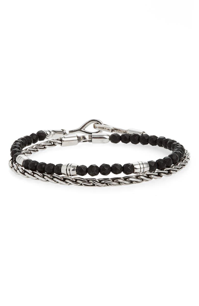 CAPUTO & CO. Stone Bead & Sterling Silver Wrap Bracelet, Main, color, BLACK ONYX