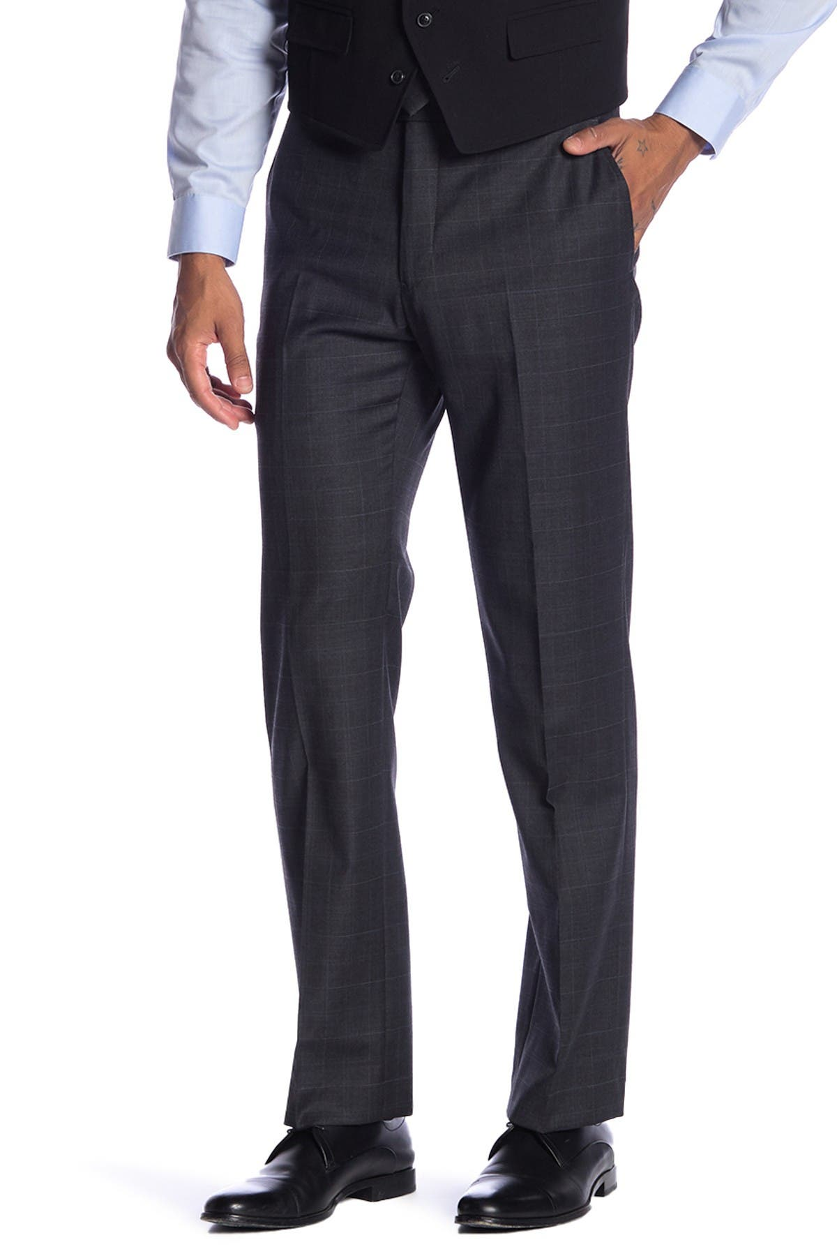 "Image of Tommy Hilfiger Tyler Plaid Print Modern Fit Stretch Suit Separates Pants - 30-34"" Inseam"