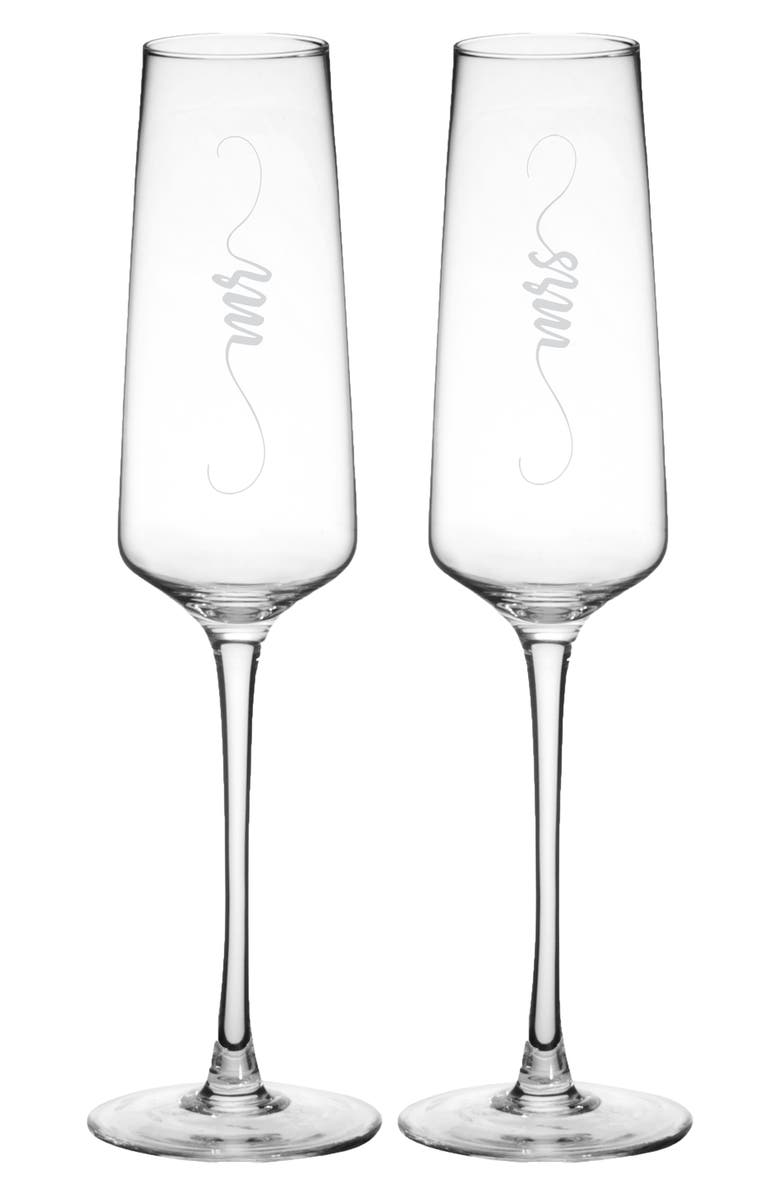 CATHY'S CONCEPTS Mr/Mrs Elegant Set of 2 Champagne Flutes, Main, color, CLEAR