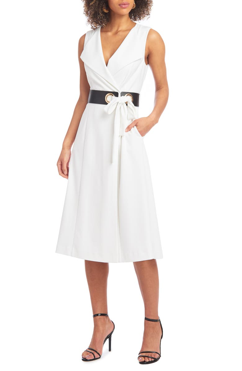 CHRISTIAN SIRIANO Belted Fit & Flare Midi Dress, Main, color, EGGSHELL