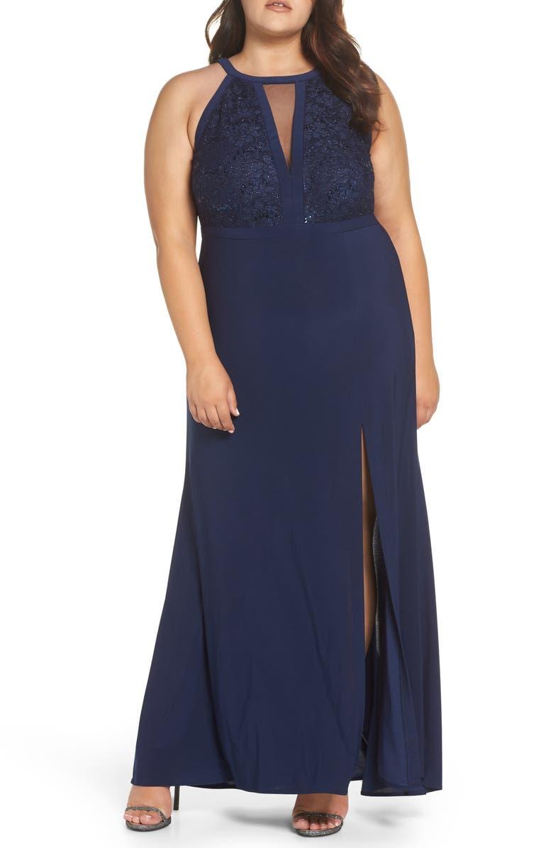MORGAN & CO. Illusion Sparkle Lace & Knit Gown, Main, color, NAVY