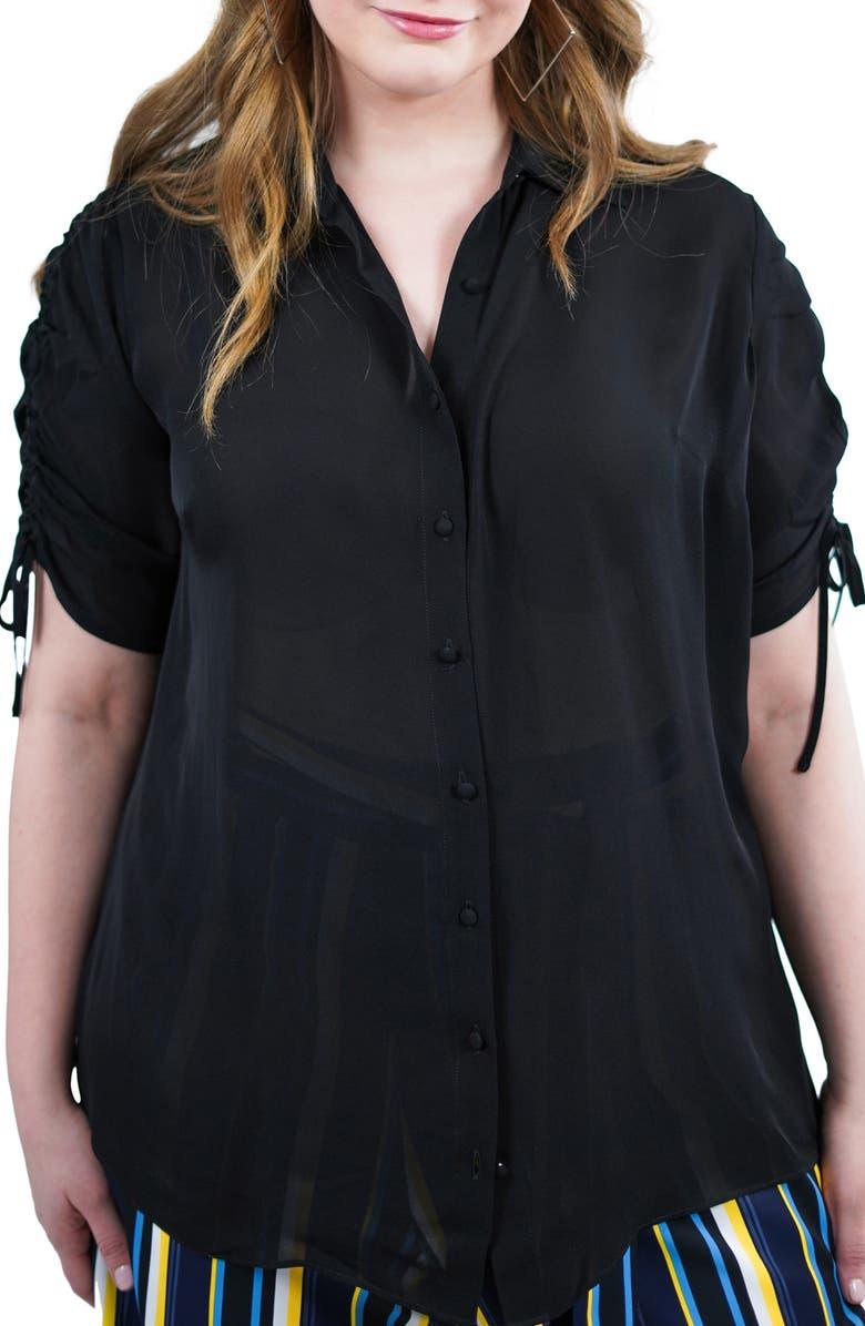 MARÉE POUR TOI Silk Georgette Blouse, Main, color, BLACK