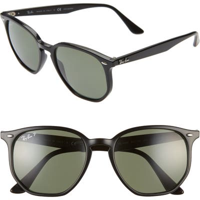 Ray-Ban 5m Polarized Round Sunglasses - Black/ Green Solid