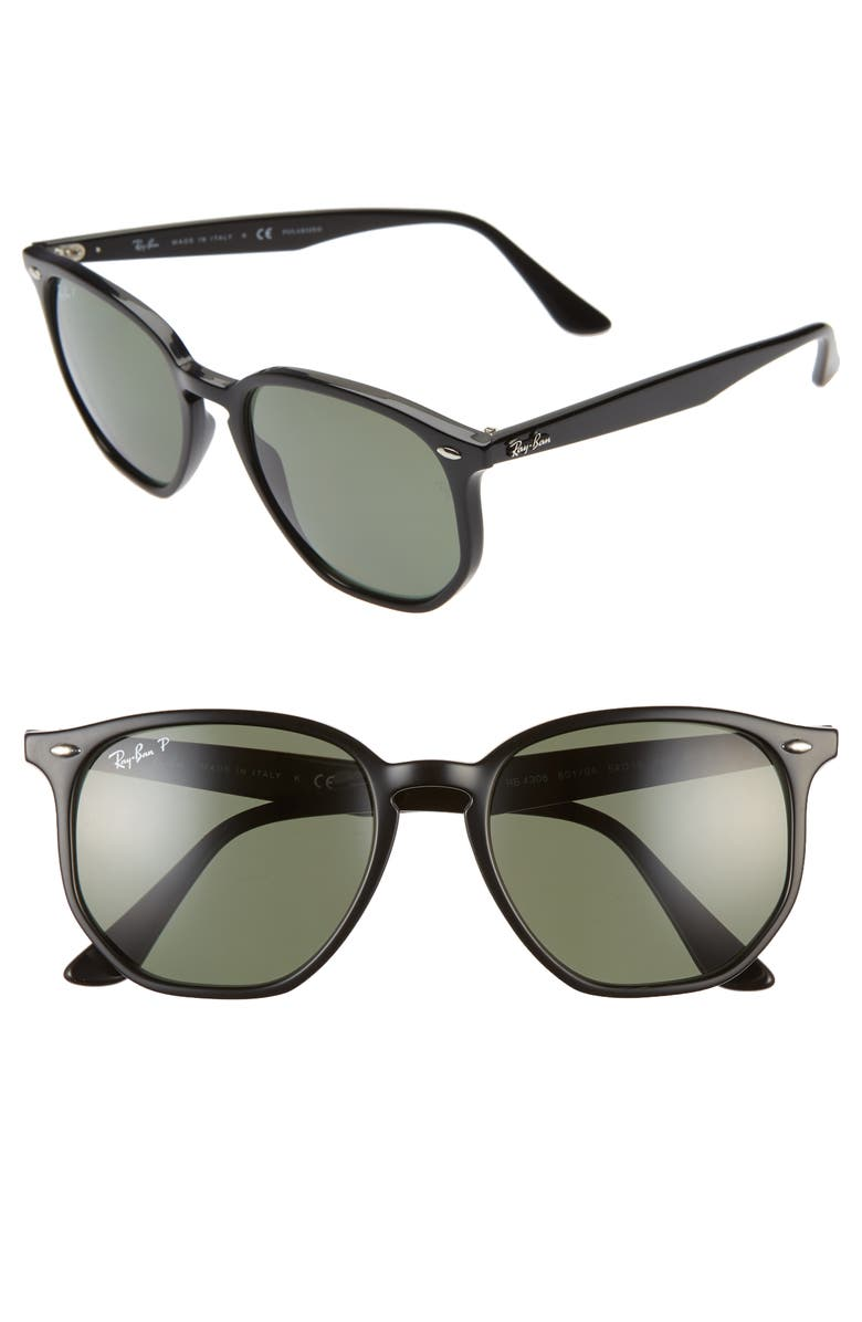RAY-BAN 54mm Polarized Round Sunglasses, Main, color, BLACK/ GREEN SOLID