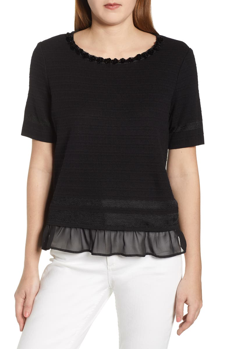 MING WANG Embellished Sweater, Main, color, BLACK