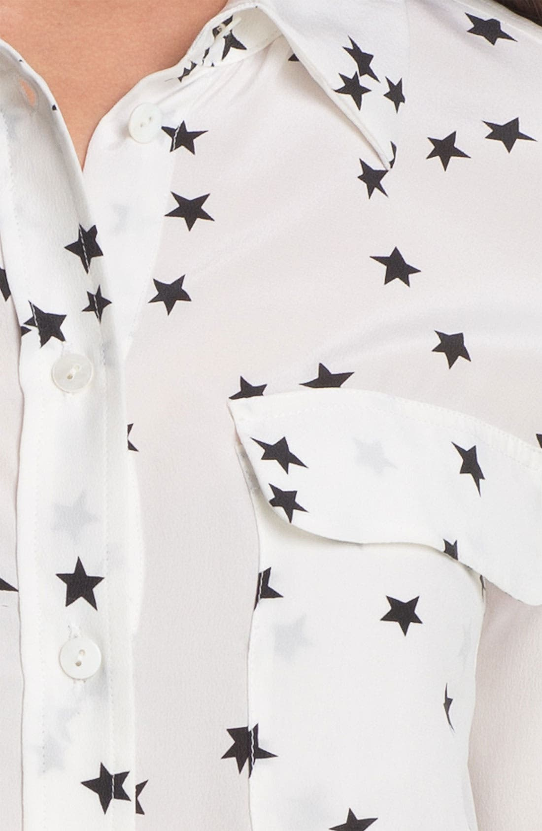 ,                             'Starry Night' Silk Shirt,                             Alternate thumbnail 8, color,                             BRIGHT WHITE/ BLACK