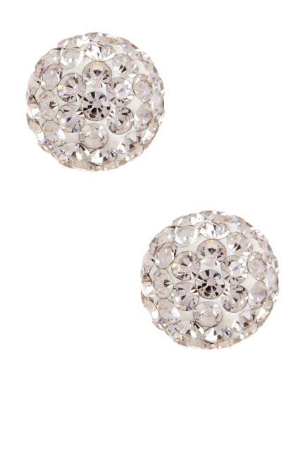 Image of KARAT RUSH 14K Yellow Gold Shiny Ball Crystal Stud Earrings