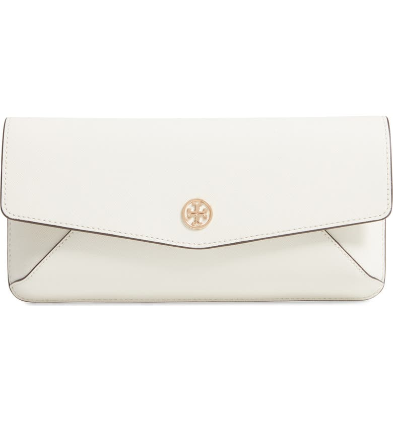 TORY BURCH Robinson Leather Clutch, Main, color, BIRCH