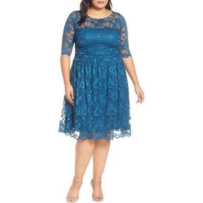 Plus Size Kiyonna Luna Lace A-Line Dress, Blue