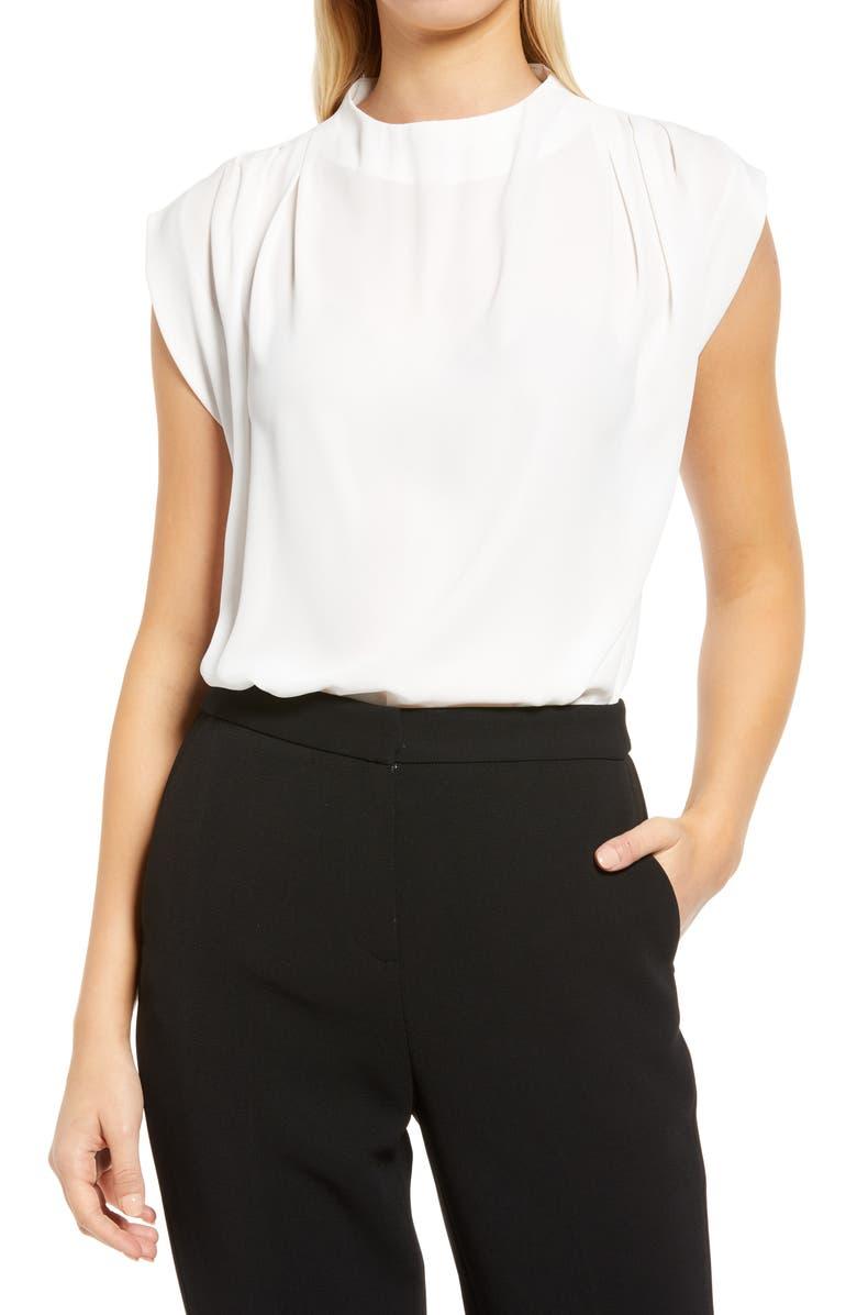 HALOGEN<SUP>®</SUP> Pleat Shoulder Blouse, Main, color, OFF WHITE