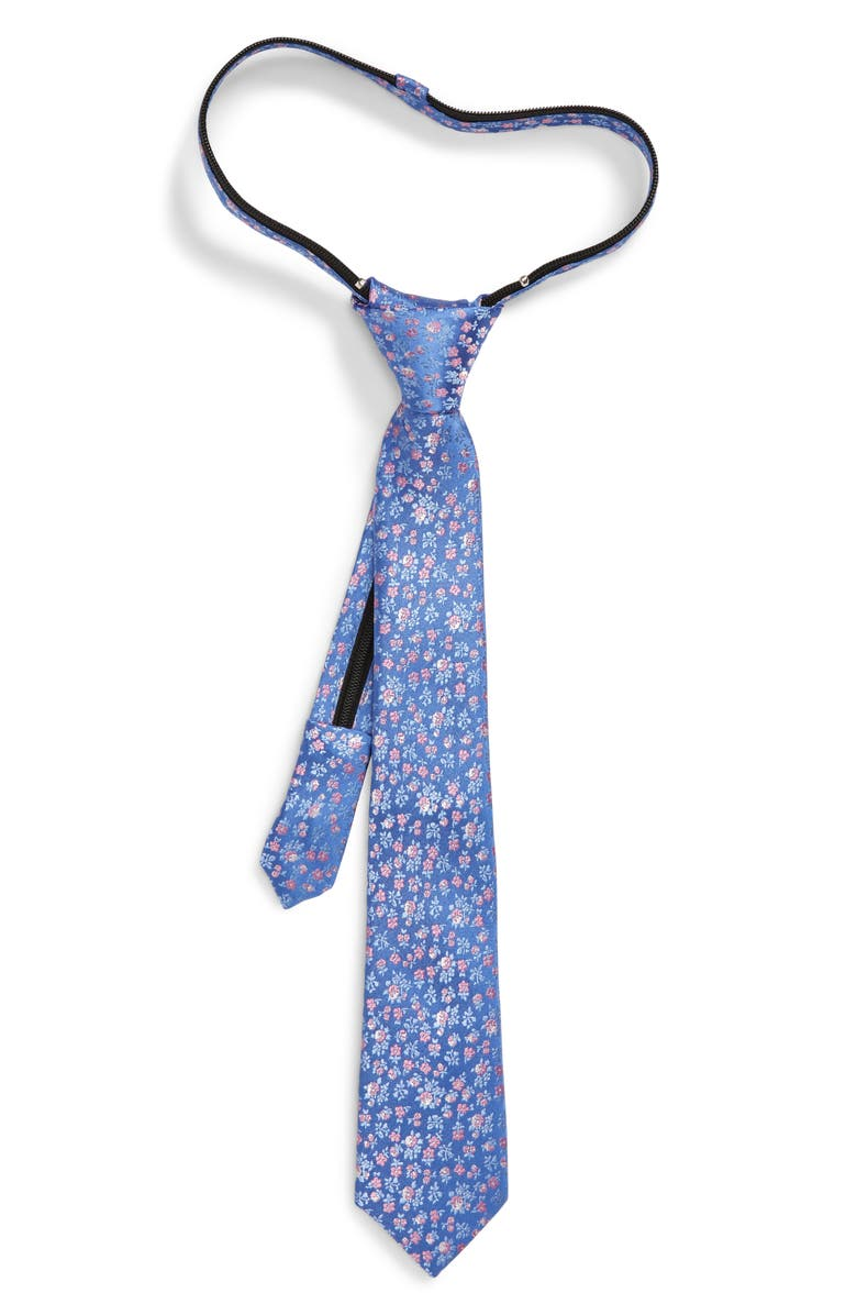 NORDSTROM Daniel Floral Print Silk Zip Tie, Main, color, BLUE