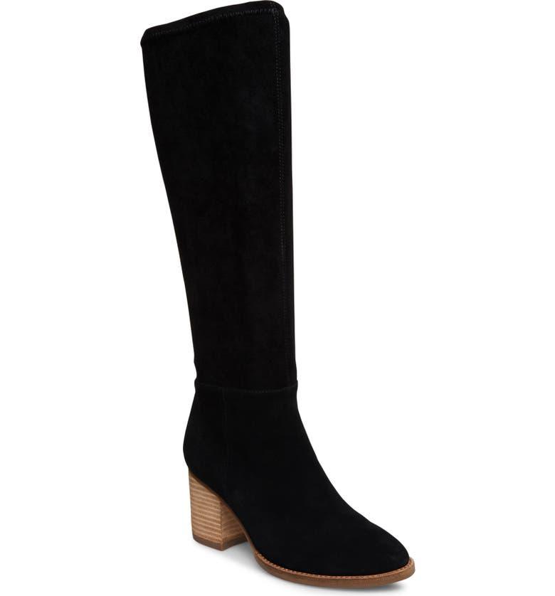 BLONDO Nada Waterproof Knee High Boot, Main, color, BLACK SUEDE