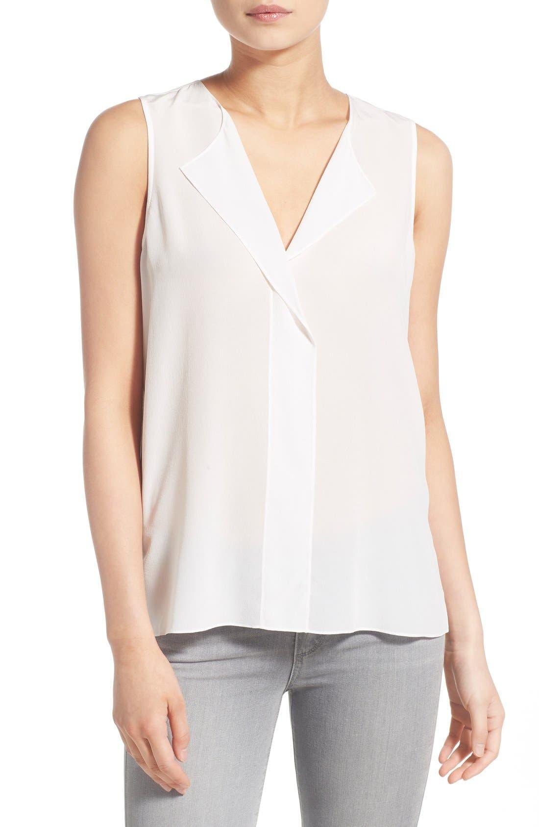 Image of Trouve V-Neck Sleeveless Silk Top