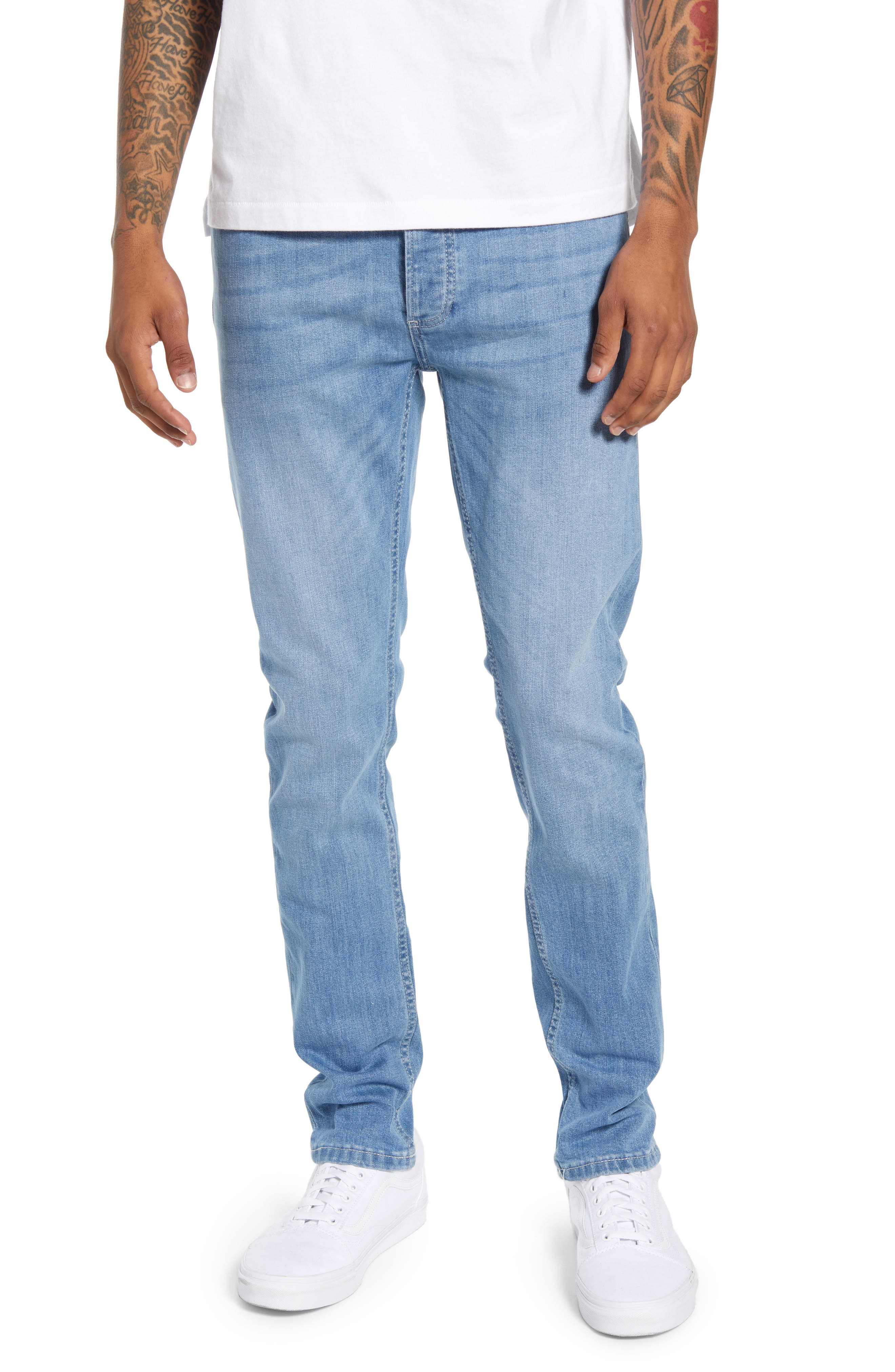 Whitewash sanding and whiskering burnish the well-faded blue wash of jeans cut in a modern skinny fit from soft stretch-cotton denim. Style Name: Topman Mason Skinny Fit Jeans. Style Number: 6039621. Available in stores.