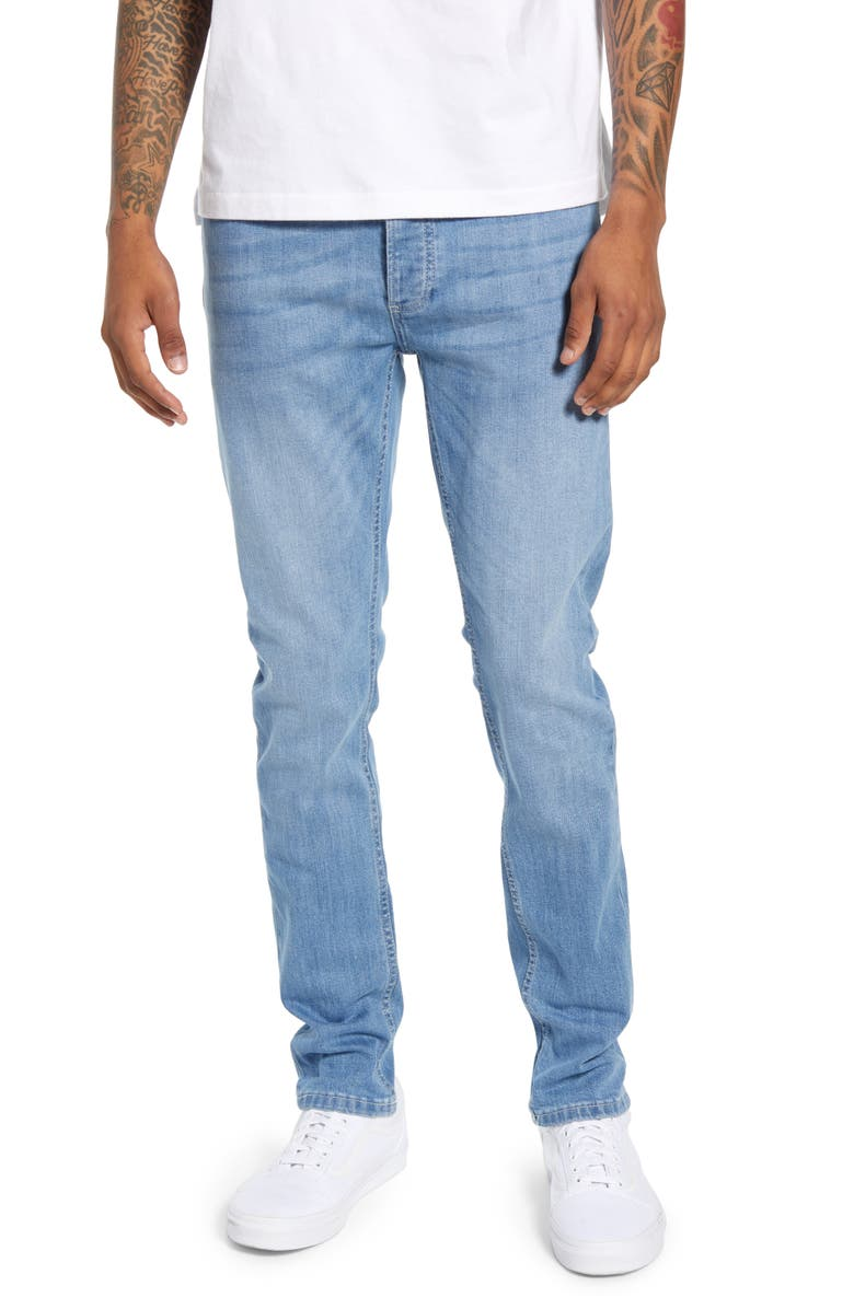 TOPMAN Mason Skinny Fit Jeans, Main, color, BLUE