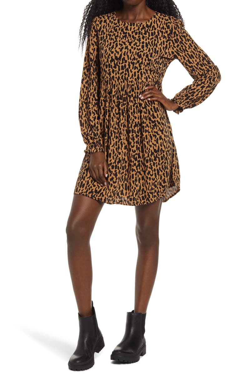 BP. Print Long Sleeve Dress, Main, color, TAN DALE DASHED SPOT