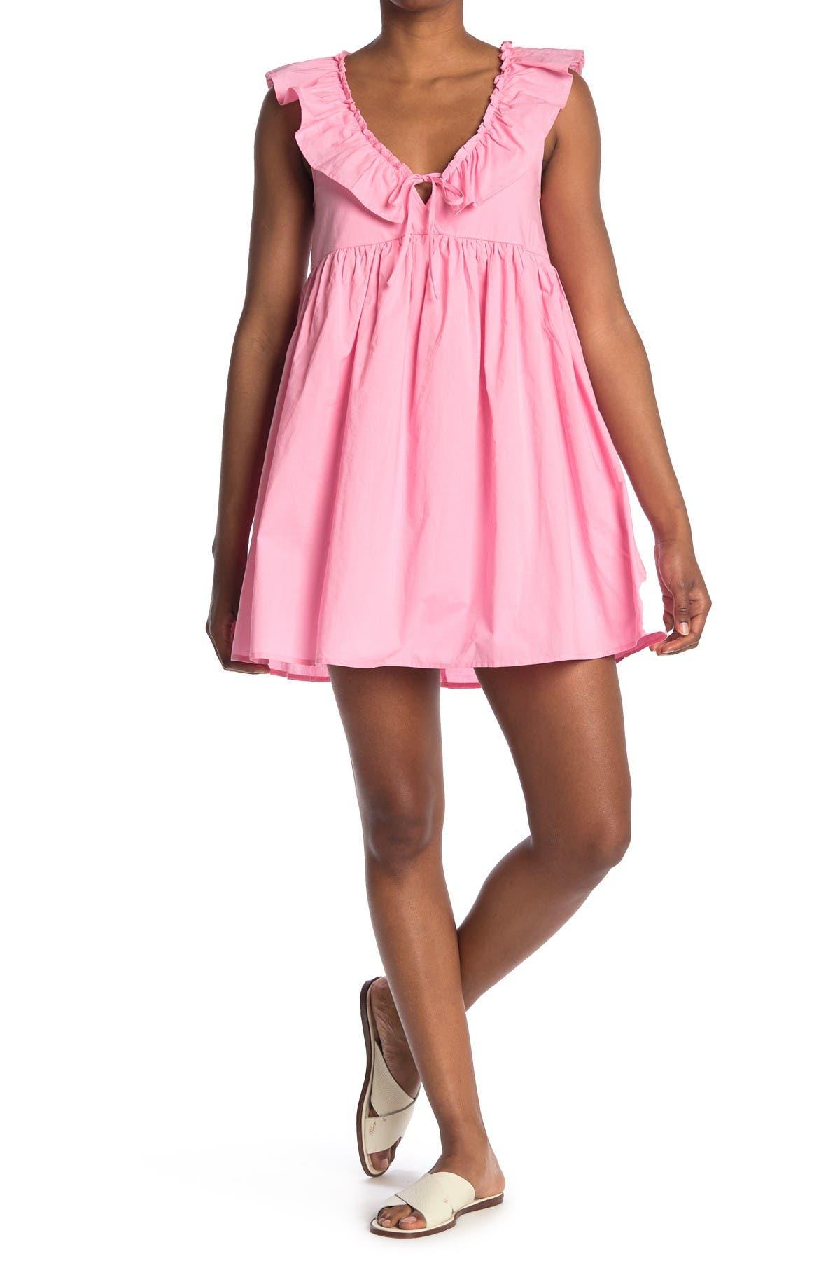 Image of ROW A Ruffled Empire Waist Babydoll Mini Dress