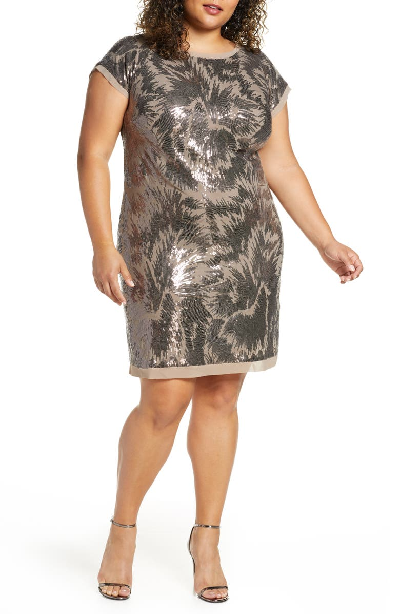 VINCE CAMUTO Cap Sleeve Sequin Cocktail Dress, Main, color, TAUPE