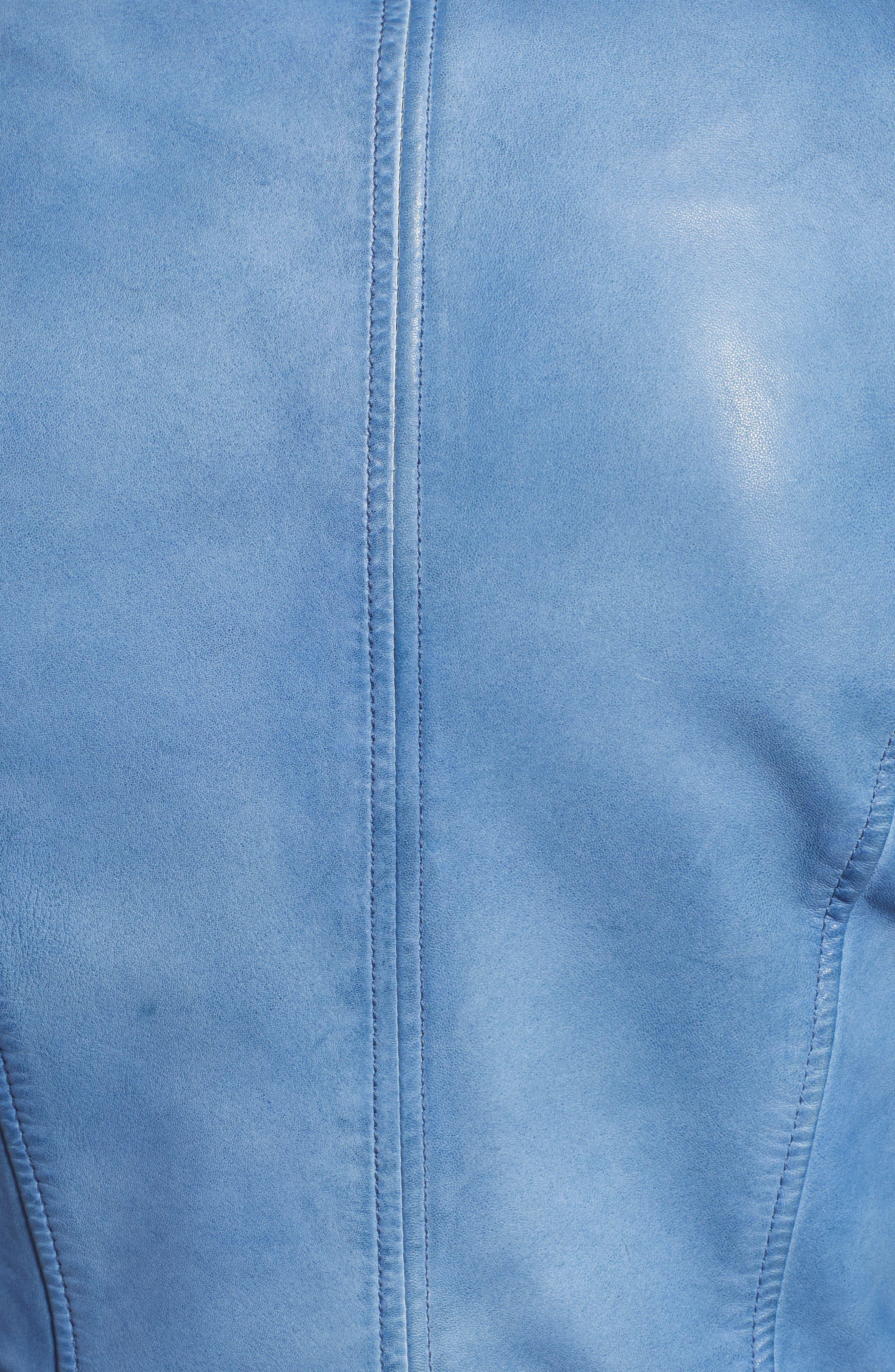,                             Donna Lambskin Leather Moto Jacket,                             Alternate thumbnail 6, color,                             FADED DENIM