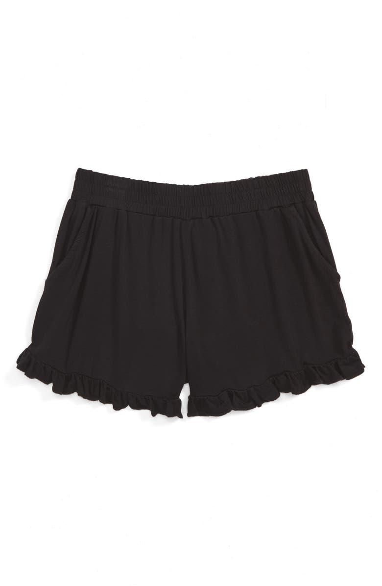 TUCKER + TATE Ruffle Shorts, Main, color, BLACK