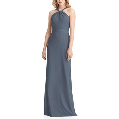Jenny Packham Twist Halter Neck Trumpet Gown, Blue