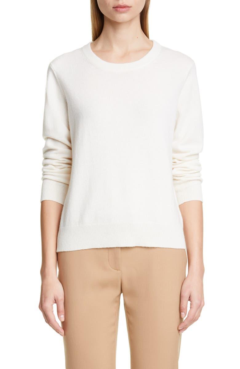 ALTUZARRA Braid Detail Cashmere Sweater, Main, color, OPTIC WHITE