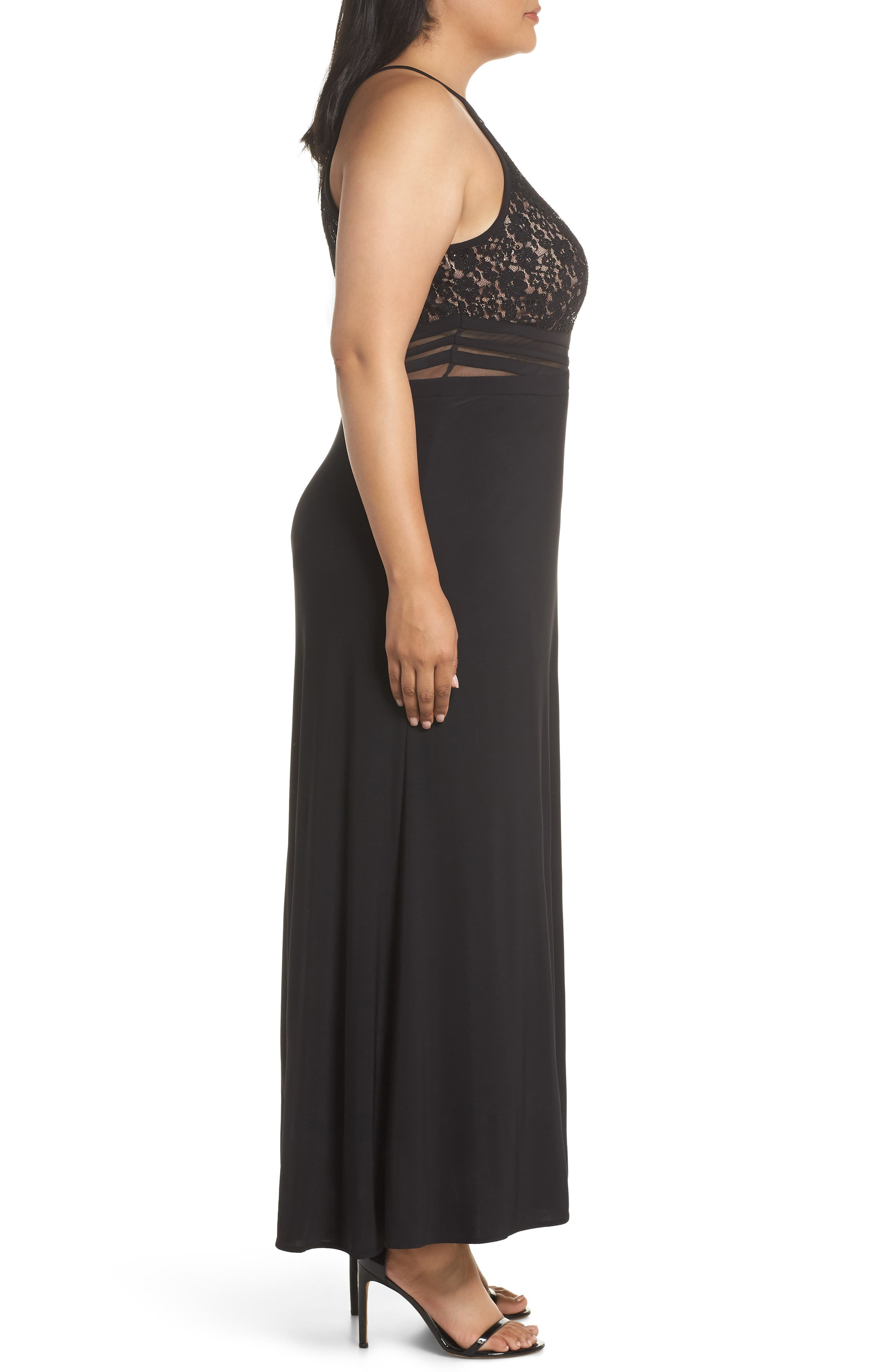 ,                             Illusion Inset Lace Bodice Gown,                             Alternate thumbnail 4, color,                             BLACK/ NUDE