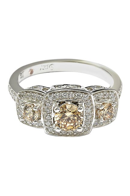 Image of Suzy Levian Sterling Silver Chocolate CZ Engagement Ring