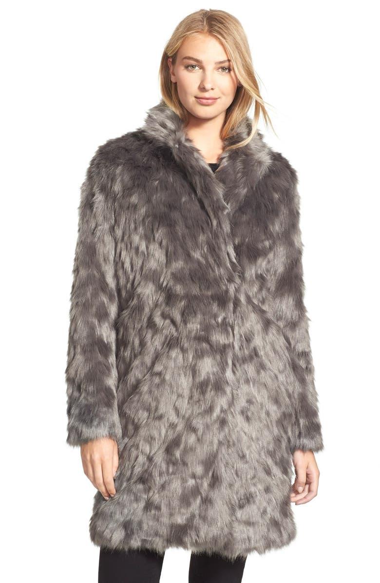 VERA WANG Coat 'Rocha' FauxFur Coat, Main, color, 022