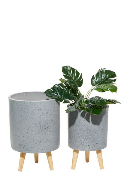 Image of Willow Row Light Grey Wood Contemporary Round Planter - Set of 2